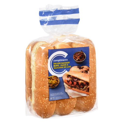 Compliments Sausage Bun Deluxe Sesame Seed 432 g