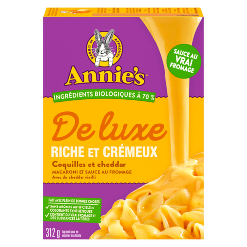 Annie's Homegrown Deluxe Mac & Cheese Shells Aged Cheddar 312 g