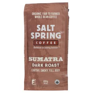 Salt Spring Organic Whole Bean Sumatra Dark Roast Coffee 400 g