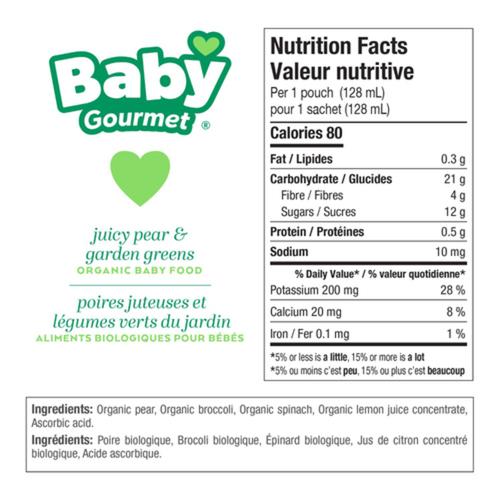 Baby Gourmet Organic Baby Food Juicy Pear & Garden Greens 128 ml