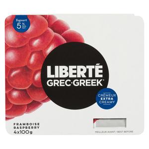 Liberté Extra Creamy 5% Greek Yogurt Raspberry 4 X 100 g