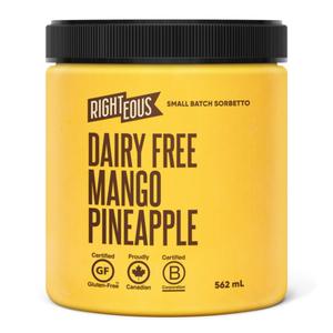 Righteous Gelato Dairy Free Sorbetto Mango Pineapple 562 ml
