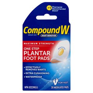 Compound W Plus Wart Removal Planter Pads 20 EA