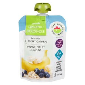 Compliments Organic Baby Food Purée Banana, Blueberry & Oatmeal 128 ml