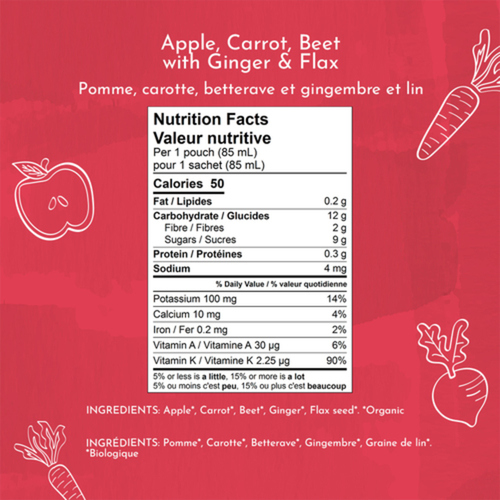 Once Upon a Farm Organic Baby Food Apple, Carrot, Beet With Ginger & Flax 85 ml