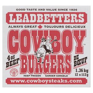 Cowboy Brand 4 oz Burgers 1.36 kg