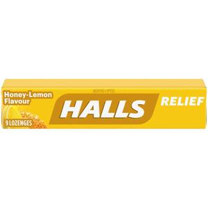 Halls Cough Drops Honey Lemon 9 Lozenges