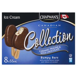 Chapman's Bumpy Bars Caramel Praline & Milk Chocolate Ice Cream Bars 8 Pack 440 ml