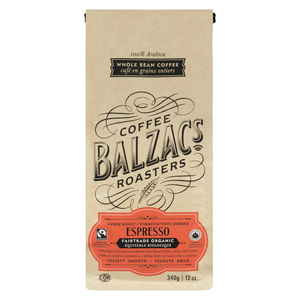 Balzac's Fairtrade Organic Whole Bean Coffee Expresso Blend 340 g