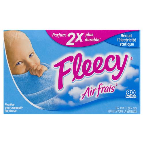 Fleecy Fabric Softener Sheets Fresh Air 80 Sheets