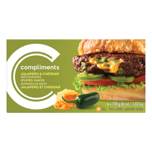Compliments Burgers Jalapeno Cheddar Stuffed Beef 6 Patties 1.02 kg