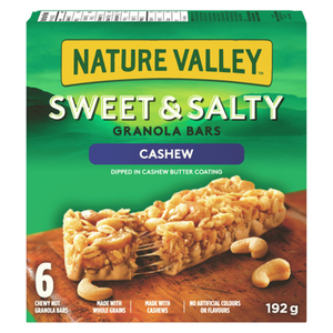 Nature Valley Granola Bars Sweet And Salty Chewy Nut Cashew 6 Count 192 g
