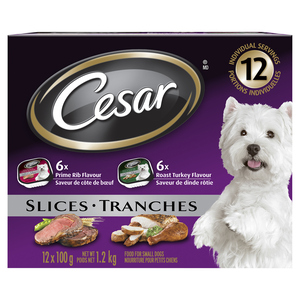 Cesar Filets In Sauce Wet Dog Food 6 Roasted Turkey Flavour and 6 Prime Rib Flavour 12x100g