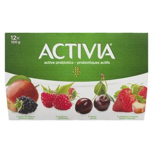 Activia Cherry Apple Blackberry Strawberry Rhubarb Yogurt 12 x 100 g