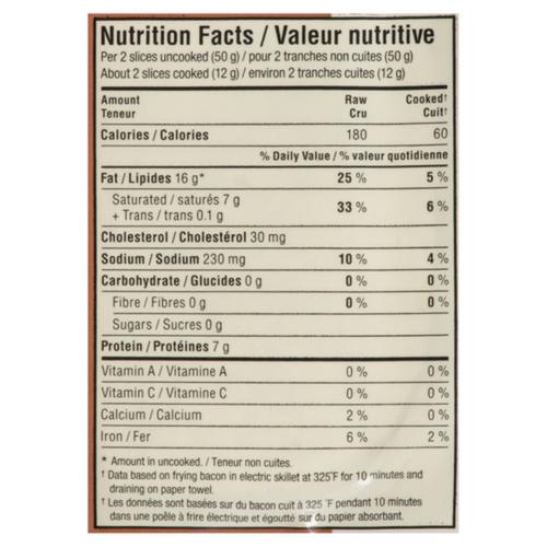 Maple Leaf Natural Less Salt Bacon 375 g