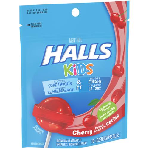 Halls Kids Cherry Lollipops 10 EA