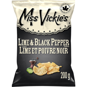 Miss Vickie's Kettle Cooked Potato Chips Lime & Black Pepper 200 g