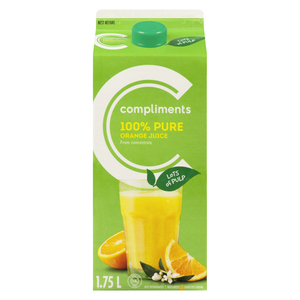 Compliments 100% Pure Orange Juice Lots Of Pulp 1.75 L