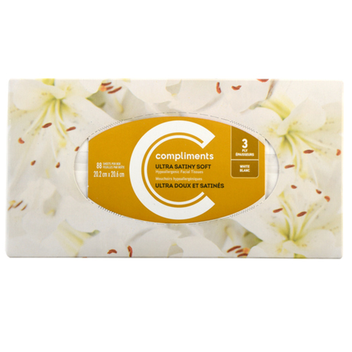 Compliments Ultra Soft Facial Tissue 3 Ply 88 Sheets