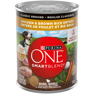 Purina ONE SmartBlend Classic Ground Chicken & Brown Rice Entrée Wet Dog Food 368g Can