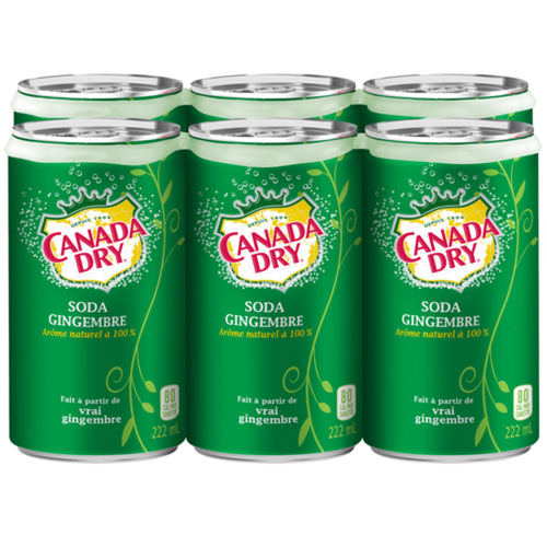 Canada Dry Soft Drink Ginger Ale Mini-Cans 6 x 222 ml