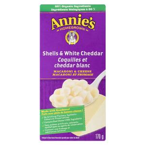 Annie's Homegrown Macaroni & Cheese Pasta Shells White Cheddar 170 g