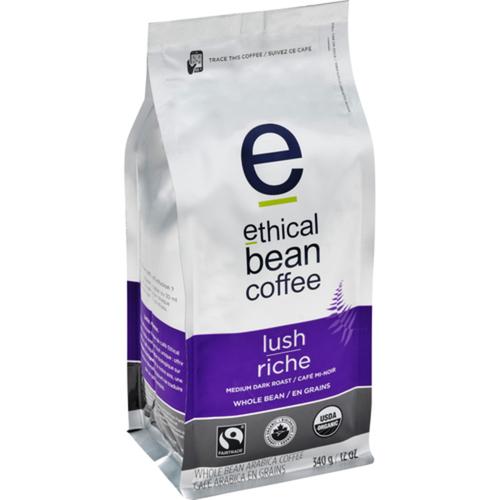 Ethical Bean Organic Lush Medium Dark Roast Whole Bean Coffee 340 g